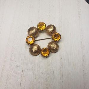 Vintage Kramer Signed Amber Rhinestone Gold Brooch